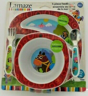 Lamaze Baby Bowl - 4 Piece Feeding Set with Plate, Bowl & Cutlery - Brand New