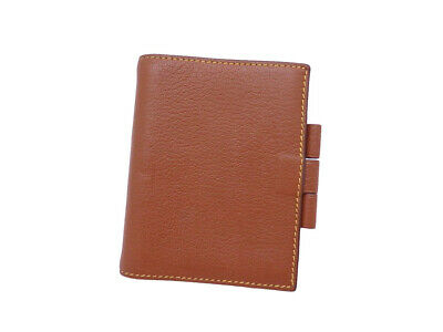 Auth HERMES Square F (2002) Mini Note/Agenda Cover Brown Leather - e42164