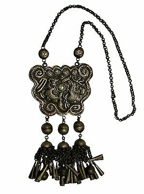 Chinese Tribe MIAO Group of People / Authentic Antique Silver Necklace 01