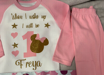When I Wake Up Birthday Personalised Pyjama Baby  Pink  White Girl 👧 Mouse