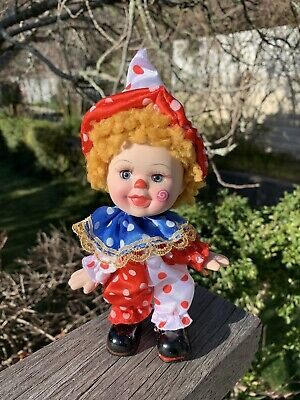 Adorable All Ceramic Bisque Jointef Clown As New Cond