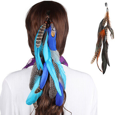 Boho Indian Feather Hair Comb Clips Hippie Long Tassel Head Band Accessories