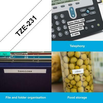 Brother TZe-231 Labelling Tape Cassette, 12 mm (W) x 8 12 mm, Black on White