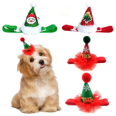 Pet Dog Cat Christmas Hat Funny Headwear Headpiece Cap With Adjustable Straps