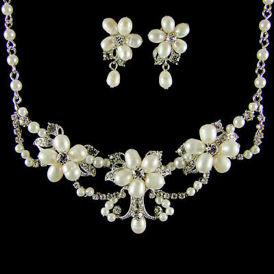 Brigitte Pearl & Crystal Bridal Necklace Set (Silver) (g517)