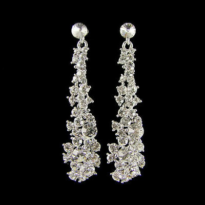Kelly Sparkling Swarovski Crystal Earrings (Silver) (g551)