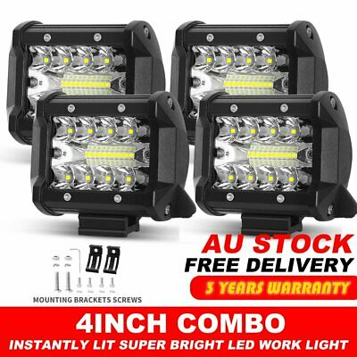 4x 4inch CREE LED Light Bar Flood Spot Combo Driving Work Lamp Offroad 4WD 3Rows