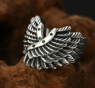 925 Sterling Silver wing Ring Mens Biker Punk Ring Rings Jewelry S4198