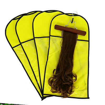 Wig Hangers Hair Extension Carrier Storage Case Wig Stands Dust Proof Bag Yellow