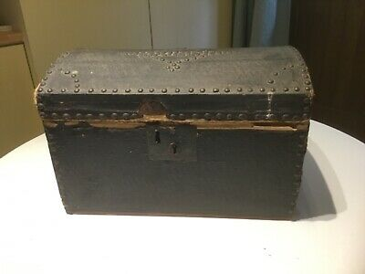 Antique Victorian hand made dolls trunk with papered interior and handles