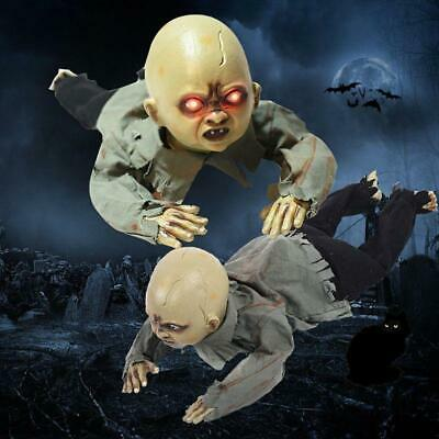 Animated Crawling Baby Zombie Scary Ghost Doll Haunted Halloween Decor Props