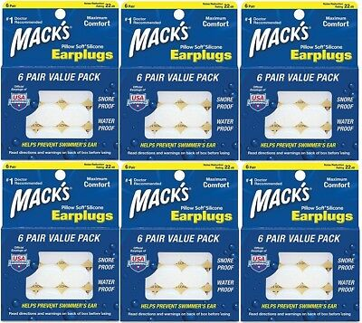 Mack's Almohada Silicona Suave Tapones Auditivos 6 Pares (6 Pack)