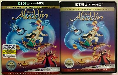 Disney Aladdin Animated 4K Ultra Hd Blu Ray 2 Disc Set + Slipcover Sleeve 1992