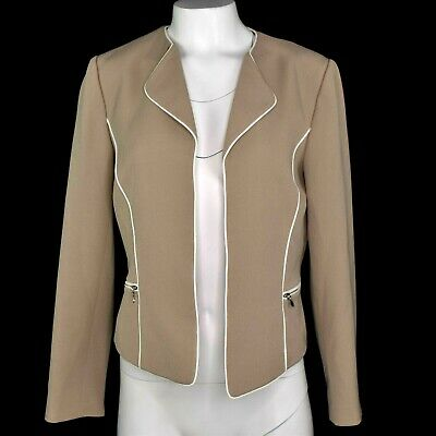Tahari ASL Womens Piped Suit Coat Lapel Zippers Lined Beige Ivory Size 6 NWT