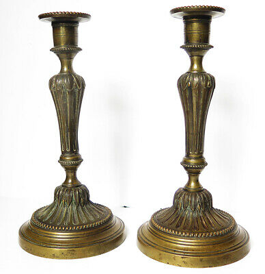 A Quality Original Pair Of Napoleonic Brass Candlesticks
