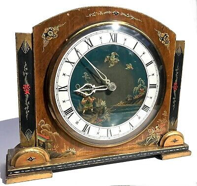 Lovely Art Deco Style Chinoiserie Jappanned Mante Clock Painted