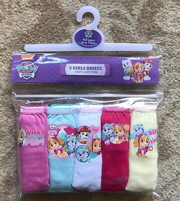 Paw Patrol Briefs / Underpants / Knickers x 5 - 100% Cotton  Age 4 - 5 Years New
