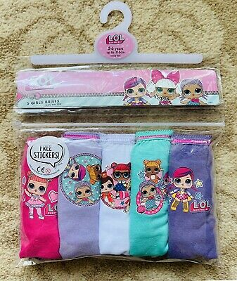 LOL Surprise! Girls Underpants / Knickers x 5 - 100% Cotton - Age 5-6 New