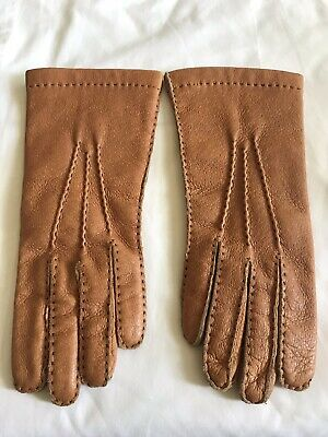 Vintage Ladies Hand Sewn Pig Skin Lined Gloves Tan Immaculate