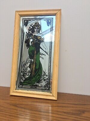 Vintage Kitsch Art Deco Nouveau Style Mucha Spring Lady Decorative Small Mirror