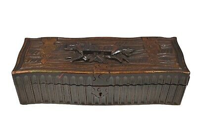 Antique Hand Carved Black Forest Style Ladies Glove Box, French.