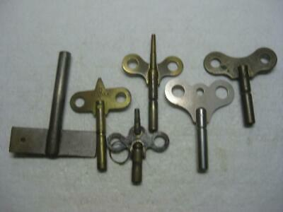 6 Antique Brass Clock Keys