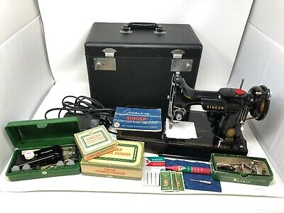 Vintage 1955 Singer Featherweight 221 Sewing Machine w/ Original Case and EXTRAS