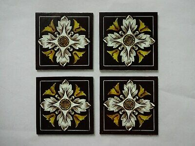 Beautiful Stained glass FLOWERS Hand painted Kiln fired 75x75mm Antique style