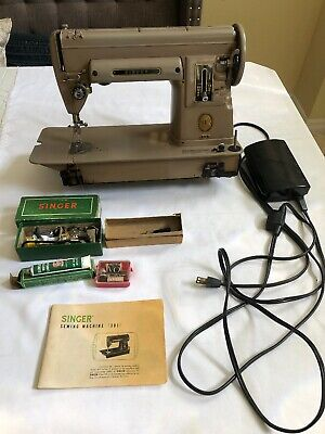 Vintage 1950's Singer Sewing Machine 301A with extras