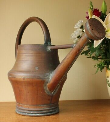 Large Antique French Copper Watering Can. 19th Century Garden Rose Head Arrosoir