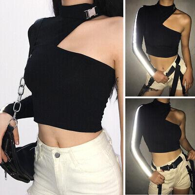 Women Cropped Tops Long Sleeve Blouse Irregular Pullover Shirts Slim Fit T-shirt