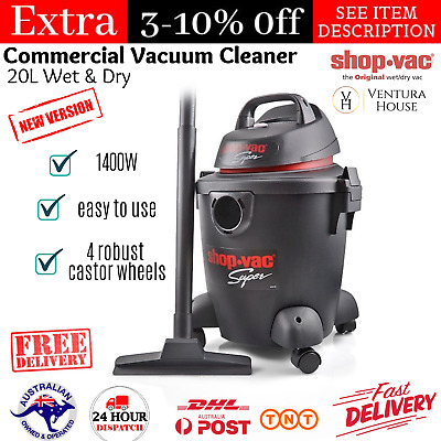 Shop Vac Super 1400W 20L Wet and Dry Compact Commercial Vacuum Cleaner Blower AU