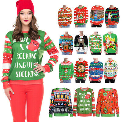 Ugly Christmas Sweater Funny Design Print Pullover Sweatshirt Xmas gift Tops