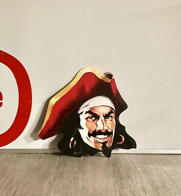 """Captain Morgan Promotional Pirate Head Advertising Sign Spiced Rum 24"""" x 22"""""""