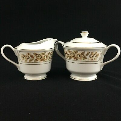 VTG Sugar Bowl and Creamer by Norleans China Catalina Golden Yellow Rose Japan