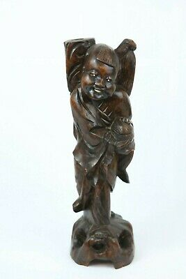 """Antique Chinese Carved Hard Wooden Figure Smile Girl(Large 15"""")"""