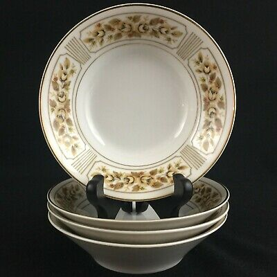 Set of 4 VTG Fruit Bowls by Norleans China Catalina Golden Yellow Rose Japan