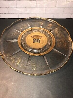 Culver Gold Speckled Wheat Glass Platter Serving Plate 11 Inch