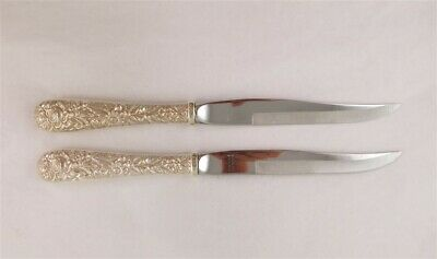 2- Kirk Repousse Sterling Silver Hollow Handle Steak Knives