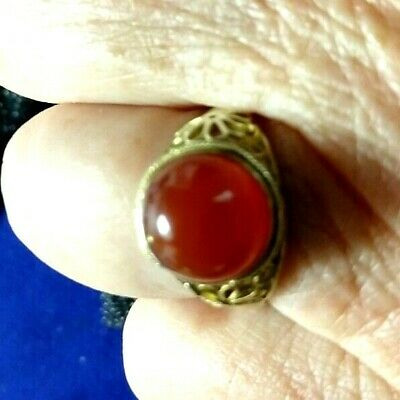 Antique Chinese Cloisonne Ring Gold Sterling Silver Filigree Enamel