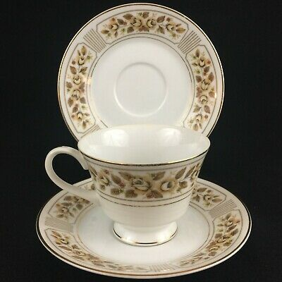VTG Set of 1 Cup and 2 Saucers Norleans China Catalina Golden Yellow Rose Japan
