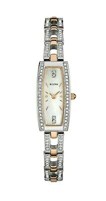 Bulova Women's 98X110 Quartz Rectangle Two-Tone Bracelet 15mm Watch