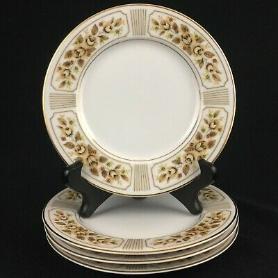 "Set of 4 VTG Bread Plates 6"" by Norleans China Catalina Golden Yellow Rose Japan"