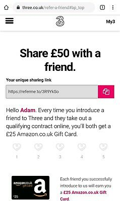 Three refer a friend link. Join 3 Mobile & get £25 Amazon gift card voucher FREE