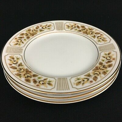 "Set of 3 VTG Bread Plates 6"" by Norleans China Catalina Golden Yellow Rose Japan"