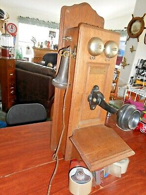 Vintage Oak Wood B-R Electric Wall Telephone-Cathedral Top For Parts or Repair