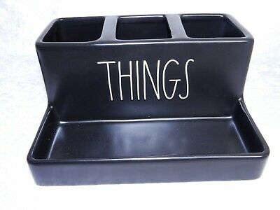 Rae Dunn THINGS Black Organizer & Dish Makeup Brushes Rings Coin