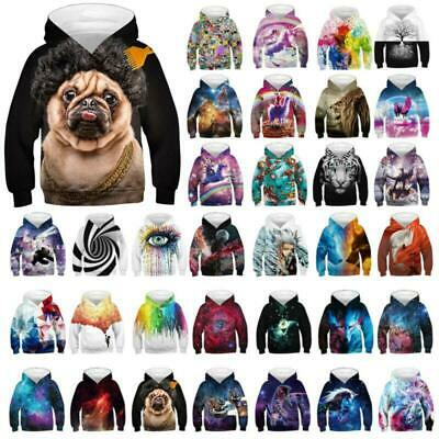 3D Kids Girls Boys Sweatshirt Tops Galaxy Hooded Jumpers Hoodies Pullover 4-13 Y