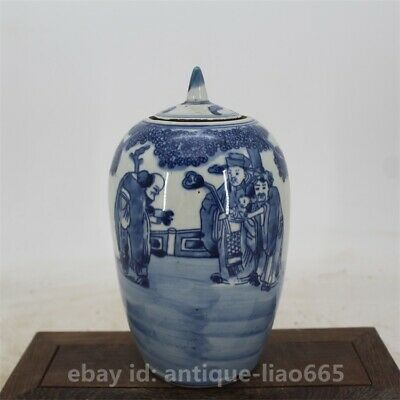 Chinese Porcelain Blue-and-white 3 Longevity God Fu Lu Shou Wax Gourd Pot Kettle