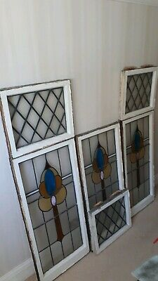 Stained Glass Panels from leaded Window set 1930's